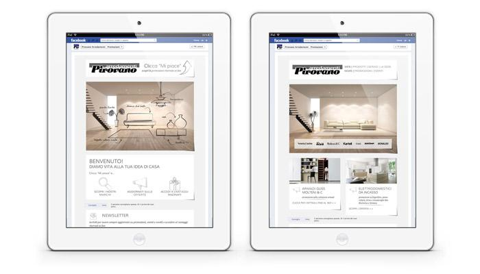 Facebook app netdream for Arredamenti pirovano